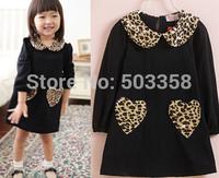 Free shipping 2014 new Girls Leopard Grain Collar Dress Long Sleeve A-Line Dress Girls Casual Dress