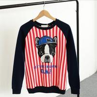 [Magic] friendly Dog stripe women cotton hoodies 2014 hot style o neck fleece sweatshirt 3 colors free shipping