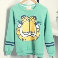 [Magic] Big yellow cat cartoon hoodies women long sleeve o neck fleece inside winter warm cotton sweatshirts 5 colors