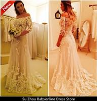 Free Shipping Vestido De Noiva Com Manga 2014 New A Line Off the Shoulder 3/4 Sleeves Lace Wanda Borges Wedding Dresses