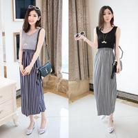 2014 summer women's vertical stripe modal cotton patchwork full one-piece beach dress