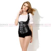 Sexy New Fashion Gothic Women Black Steel Boned Leather Underbust Corset Bustier Waist Training Bondage Fetish Goth Club Rave