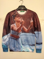 3XL 2014 Autumn winter Women Men plus size Punk harajuku Rihanna 3D Printed casual outwear Sweatshirt For Lovers wholesale MM4
