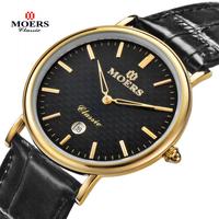 2014 New design Moers CB-6008 Genuine Leather thin Business casual calendar waterproof quartz wristwatch