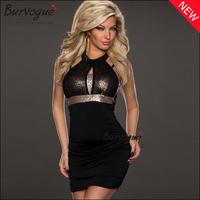party dresses evening summer dress 2014 women maxi casual sequined spaghettti strap black chiffon Autumn Sexy Bodycon short M,L