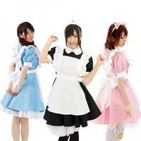 Cosplay Anime Maid Alice in Wonderland Costume Blue lolita Fairytale Fancy Dress