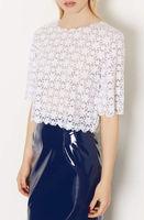 Women Lace Crochet Short Sleeve Crew Neck Casual T Shirt Blouse Tops Hollow Sexy