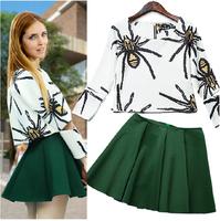 2014 autumn newest zipper women Round neck casual long-sleeved shirt coat + umbrella skirt suit bottoming skirt free shipping