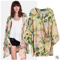 2014 autumn new European style ladies coat color printing kimono style cardigan jacket casual jacket female shawl to send gifts