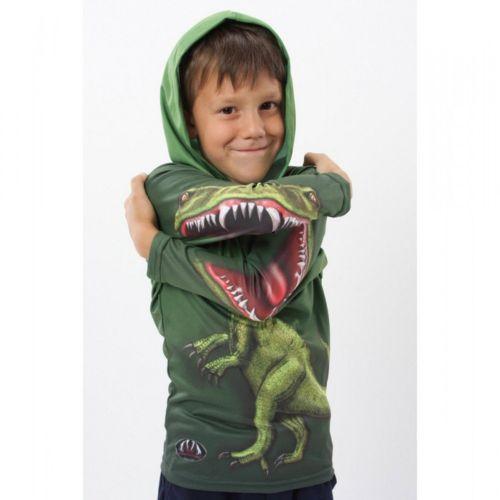 Boy 3D Mouth Dinosaur Shirt Raptor Green Hoodie Animal Outwear Tops Long Sleeves(China (Mainland))