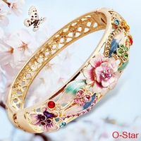 I AM LOVE authentic Cloisonne Bangles female folk style fashion wide color flowers bangles jewelry jewelry wholesale