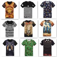 Men fashion harajuku short sleeve casual famous brand slim fit 3D crown lion MEDUSA KTZ skull print T shirt tee shirts MM5