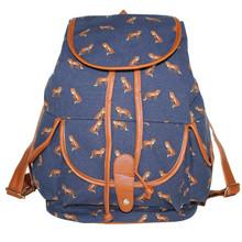 New Bran 2014 Fox Bird Print 3 Colors Canvas Women Backpack For Girl School Rucksack Travel Shoulder Bags Cute Bag Free Shipping(China (Mainland))