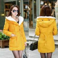 2014 Winter Coat Thickening Slim Medium-long Down Jacket Women Elegant Fashion Lamb Fur Collar Parkas Outerwear Plus Size JC051