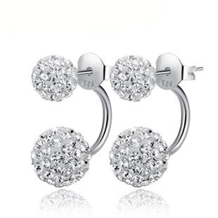 100% 925 серебряные ювелирные изделия полный из flash-каменные серьги-серебро серьги рождественский подарок бесплатная доставка