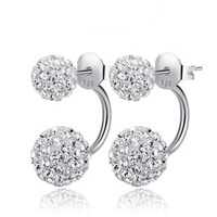 100% 925 Sterling Silver Jewelry Full of Flash Stone Earrings Sterling Silver Stud Earrings Christmas Gift  Free Shipping