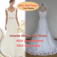 2014 Brazil Hot Sale Straps Wedding Dress White Color Lace Real Photos NS842