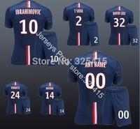 Ibrahimovic cabaye matuidi silva luiz verratti motta beckham lavezzi paris 2014 home blue soccer uniforms kits jersey with short
