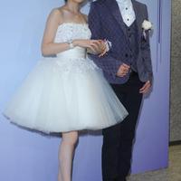 Popular women fashion cute short wedding dress strapless back zipper Puff hem sweet princess bride wedding gown white ball gown