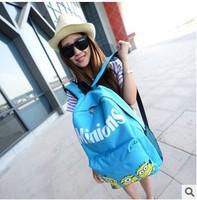 Cartoon small yellow man Backpack Travel Bag Women Cartoon Cat Ear Shoulder Bag Backpack 2014 New  Schoolbag Men Canvas