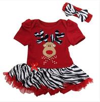 Baby One Piece Romper Jumpsuit Rompers + Bowknot Headbands Christmas  Wear Girls Climb Clothes Newborn Romper tutu Dress Sets