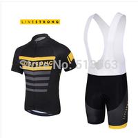 High Quality 2014 Live-strong Black Cycling Clothing Cycling Jersey+Cycling Bib Shorts Bike Bicycle Clothing Cycling