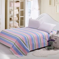 2014 Top Fashion Real Stripe Bedsheet Yu Popo Cotton Piece Old Coarse Cloth Double Bed Sheets The Single Students No Splicing