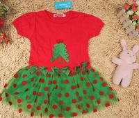 Hot sale children's clothing girls models red short-sleeved dress children dress Christmas Polka Dot veil
