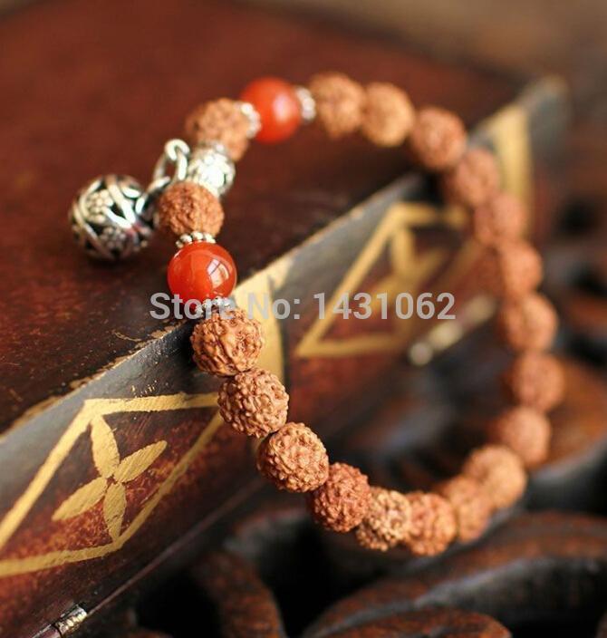Unisex ágata vajra vermelho Buddha contas pulseira de prata tibetana meditação mala Sa -195(China (Mainland))