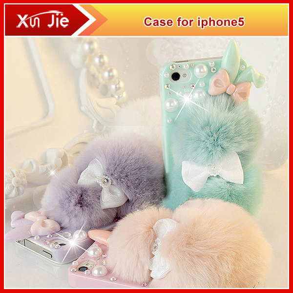 Top Rabbit Fur Ball Phone case For Apple Iphone 5 5s,Rabbit ears flash shell Phone shell,Cute girls cell phone case 3 Colors(China (Mainland))