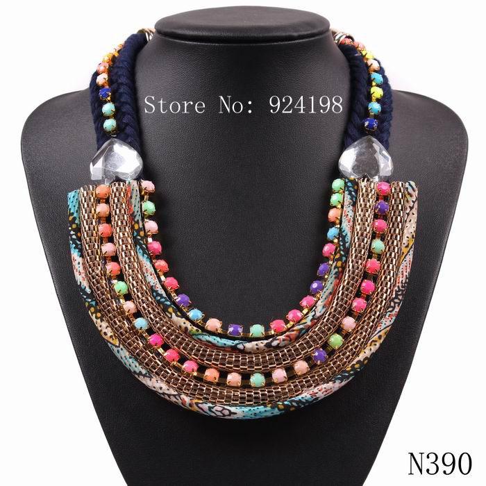 new fashion cheap bib collar bohemia rope chain necklace & pendant chunky elegant colorful choker statement necklace(China (Mainland))
