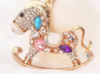2014 new Fashion lovely carousel wood wooden horse animal 3D Car Keychain Bag Charm Purse Pendant Rhinestone Keyring key chain