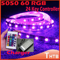 5050 RGB 60 LED Strip Waterproof Flexible Light 5M 300SMD 24 Keys IR Remote Controller 12V 6A Power Adapter