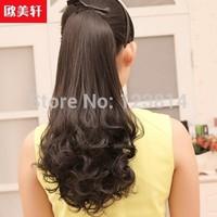Women New Fashion 2014 Wig Auburn Fashion Beautiful Ponytail Long Curly Ribbon Ponytails Black Brown 3 Colors Hair Styling 0325