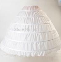 2014 High Quality White 6 Hoops Petticoat Crinoline Slip Underskirt For Wedding Dress Bridal Gown In Stock Free shipping