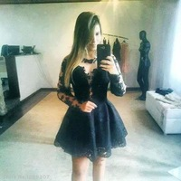 2014 hot sell free shipping Cheap factory direct  Hot dress sexy black lace dress stitching perspective dress