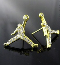 (No minimum )!HOT!!  Fashion Hip Hop Basketball Air Michael  Crystal Jordan Slam Dunk  Earrings  .Factory Wholesale(China (Mainland))