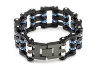 Spot wholesale Purple Blue titanium bracelet magazine style double bicycle Stainless Steel Two Color Choose chain