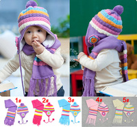 Child Plus velvet Floral Cap  Kids winter knitted  earflap Hats For 1-3years baby