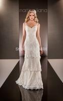 Elegant 2014 Tarik Ediz Sheer V-Neck Spaghetti Strap Beaded Lace Sleeveless Sexy Formal Evening Dress Design Drop shipping SH213
