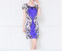 2014 New Summer High-end European and American Short-sleeved Printed Silk Dress vestidos femininos
