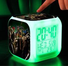 Teenage Mutant Ninja Turtles TMNT Digital LED 7 Changed Colorful light Alarm Clocks / Thermometer ,Night Electronic kids toys(China (Mainland))