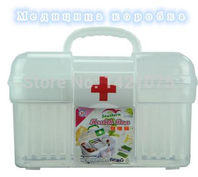 Neeka Free shipping Transparent double healthy medicine box/bin medical kit vacuum first and aid plastic storage bin S/M size(China (Mainland))