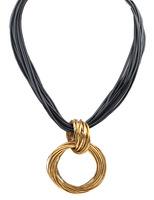 Europe Vintage Style New Fashion Metal  Circle Pendant Necklace Women  Statement Necklace  DFX-595