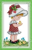 Precise print canvas cross stitch kit cartoon figure Little girl embroidery pattern diy needlework set 11ct unfinished free ship