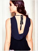2014 New Sexy Fashion High Street Blue Cowl Back Peplum Top LC25181