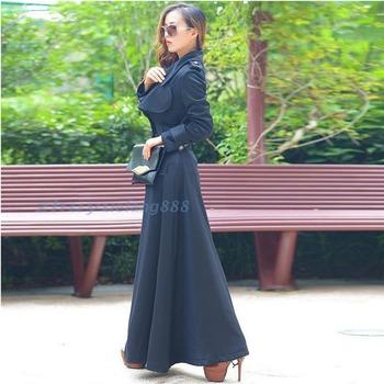 2014 новое поступление осень длинное пальто тонкий верхней одежды для полных женщин большой лацкане двубортный плащ женский ветровка