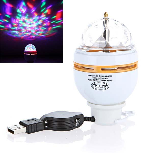 3W LED Auto Rotating Bulb Lamp USB RGB Portable Crystal Stage Light(China (Mainland))