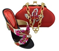 Popular bridal shoe and bag in 2014.wholesale and retail shoe and matching bag set in red for free shipping