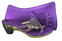 2014 High quality rhinestone shoe and bag matching for wholesale and retail purple size39-43 free shipping